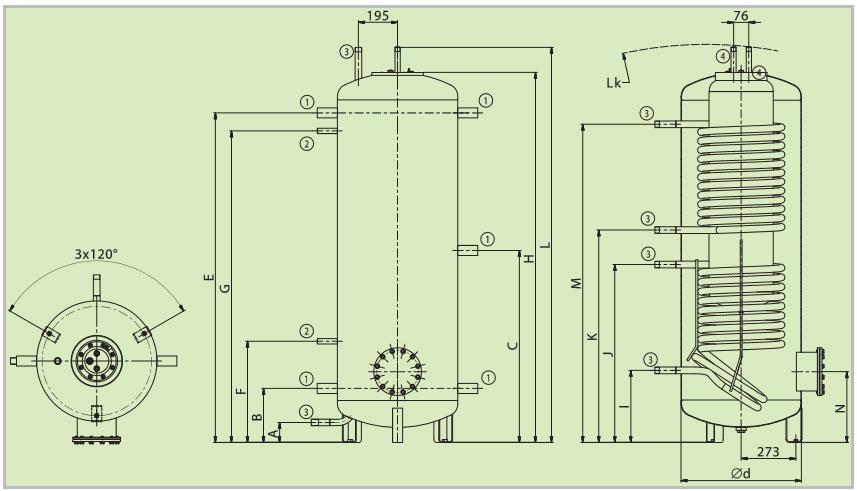 Hygiene boiler met 2 warmtewisselaars tekening