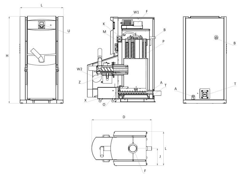 Burnit pelletketel PLB 40 V2 tekening